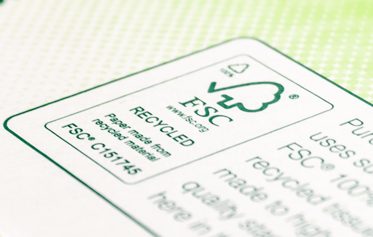 Close-up of FSC Product Mark on Kind Softness facial tissue package