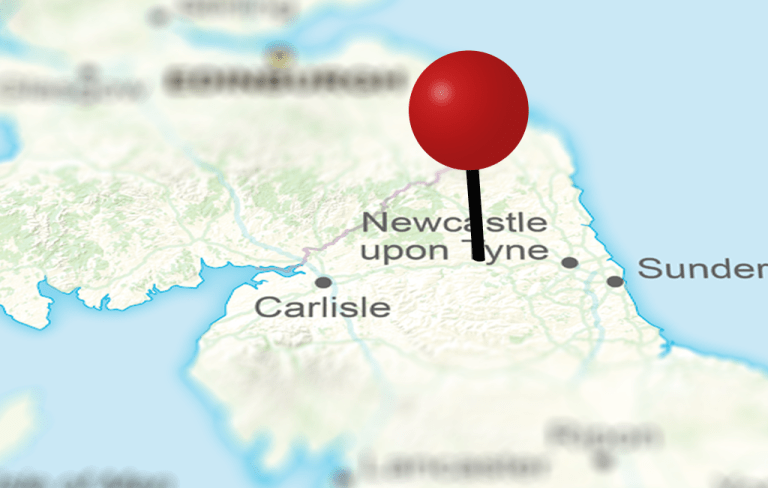 Map of United Kingdom with red pin over Fourstones Paper Mill in Northumberland
